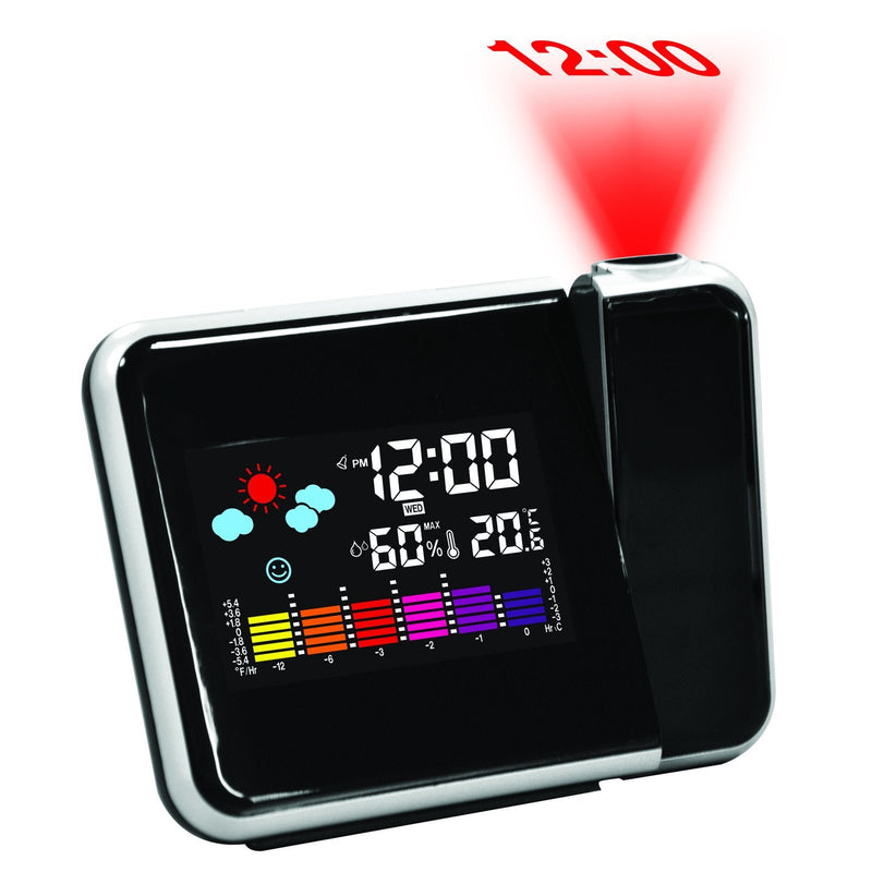 Pearl Time LCD Digital Weather Station Projector Alarm Clock, 14cm