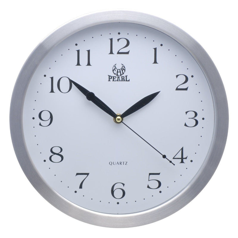 Pearl Time Metal Rim Arabic Wall Clock Silver 31cm PW046