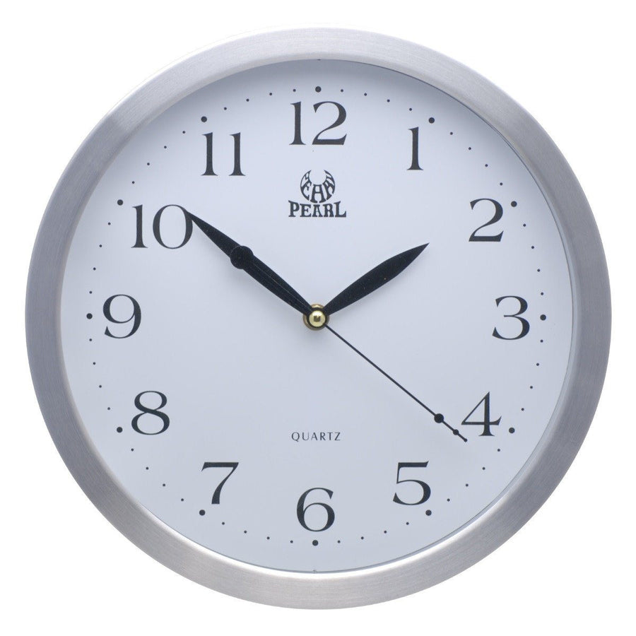 Buy pearl time clocks online oh clocks australia pearl time metal rim arabic wall clock silver 31cm pw046 amipublicfo Choice Image