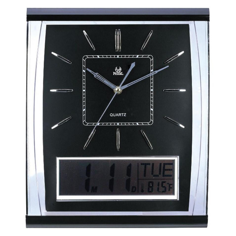 Pearl Time Rectangle LCD Wall Clock Silver with Black 31cm PW066-1