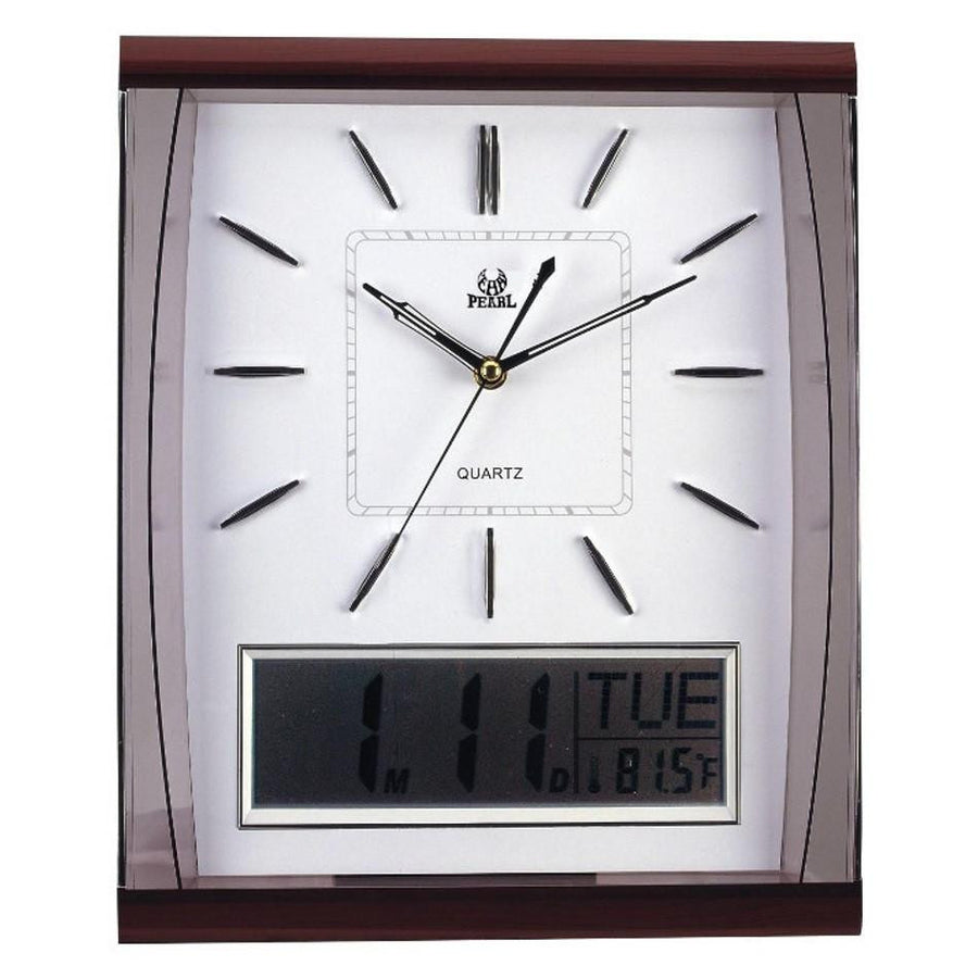 Pearl Time Rectangle Analog and LCD Wall Clock, White, 37cm