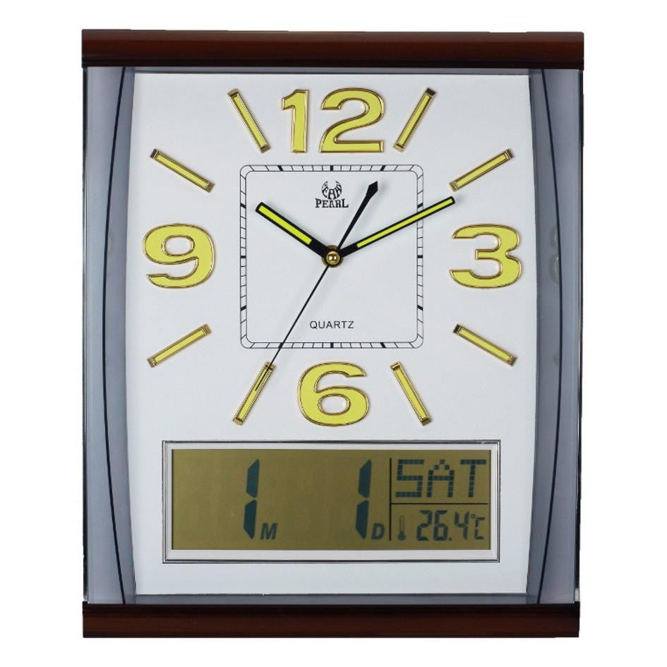 Pearl Time Rectangle Analog and LCD Wall Clock White Gold 37cm PW066-3