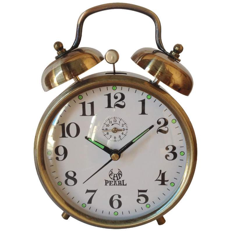Pearl Time Clifford Mechanical Wind Up Bell Alarm Clock, Brass, 15cm