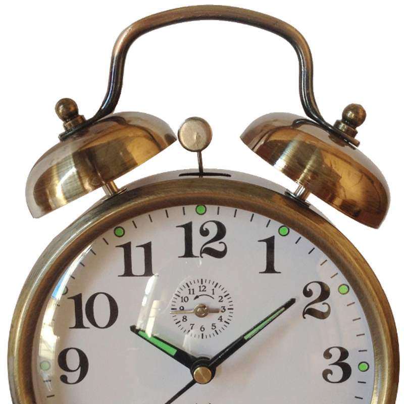 Pearl Time Round Twin Bell Mechanical Wind Up Alarm Clock, Brass, 15cm