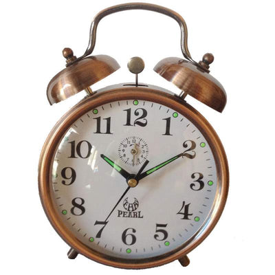 Pearl Time Twin Bell Mechanical Wind Up Alarm Clock Copper 15cm B875 COP 1