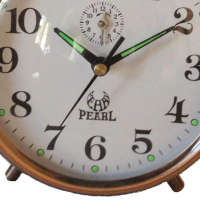 Pearl Time Twin Bell Mechanical Wind Up Alarm Clock Copper 15cm B875 COP 3