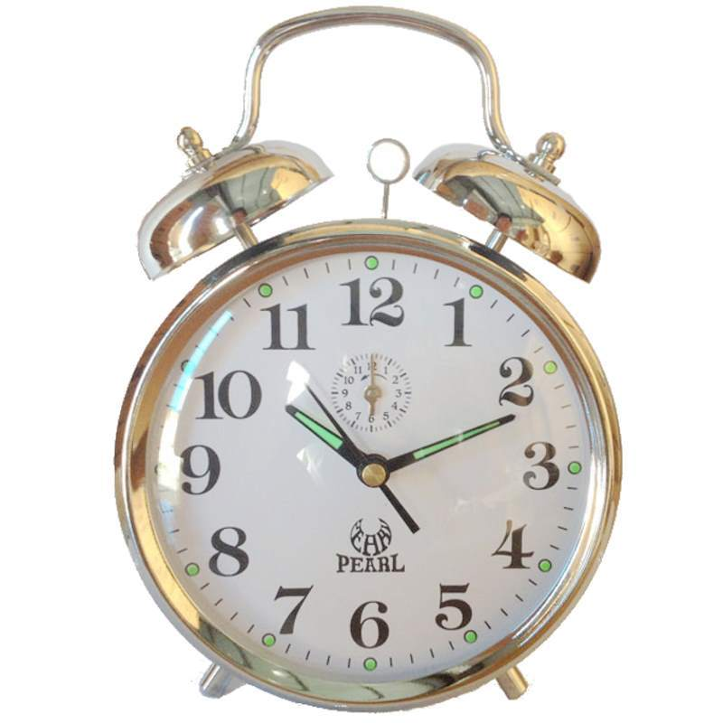 Pearl Time Clifford Mechanical Wind Up Bell Alarm Clock, Silver, 15cm