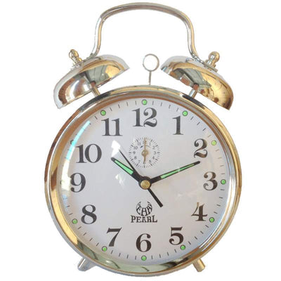 Pearl Time Twin Bell Mechanical Wind Up Alarm Clock Silver 15cm B875 SIL 1