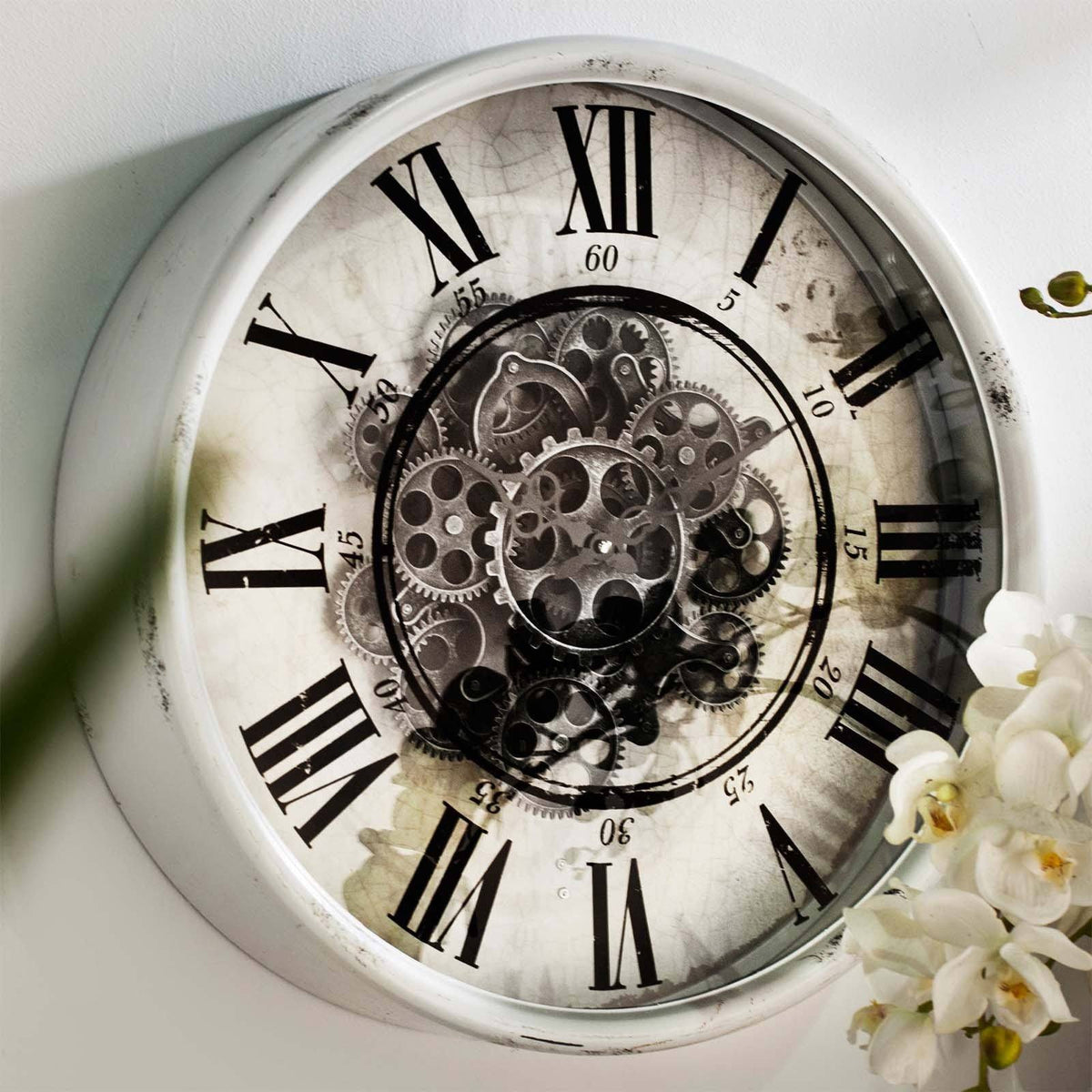 Buy Round Mirror Moving Cogs Wall Clock 50cm Online Oh