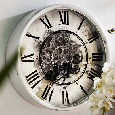 Round Mirror Moving Cogs Wall Clock 50cm Angle 40054