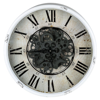 Round Mirror Moving Cogs Wall Clock 50cm Front 40054