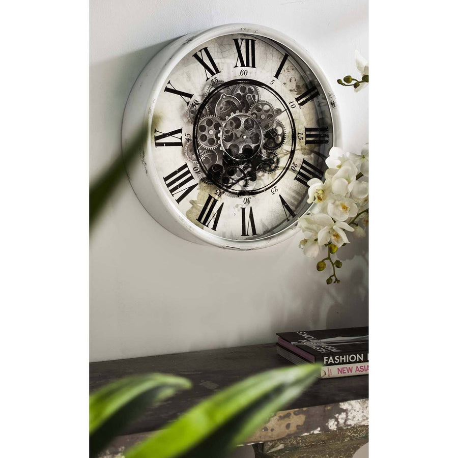 Round Mirror Moving Cogs Wall Clock 50cm 40054