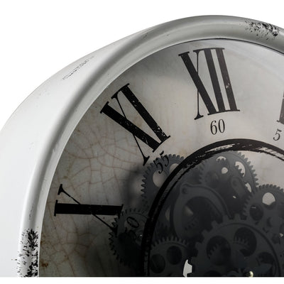 Round Mirror Moving Cogs Wall Clock 50cm Top 40054