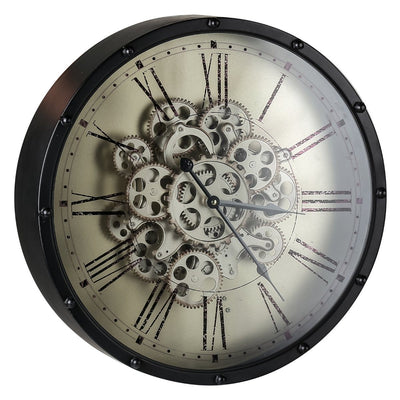 Round Roman Numeral Moving Cogs Wall Clock 46cm Angle2 40053