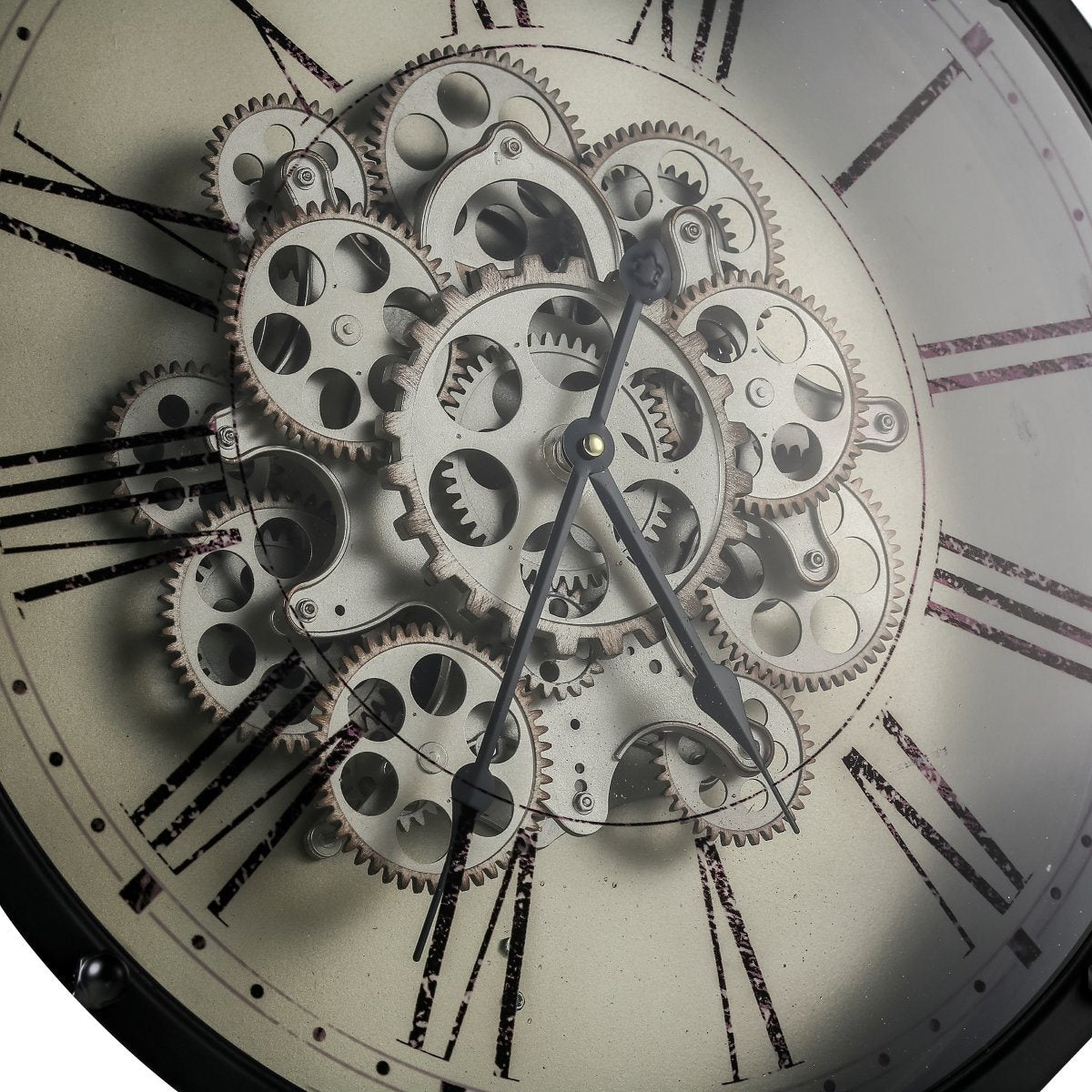 buy round roman numeral moving cogs wall clock 46cm online oh clocks