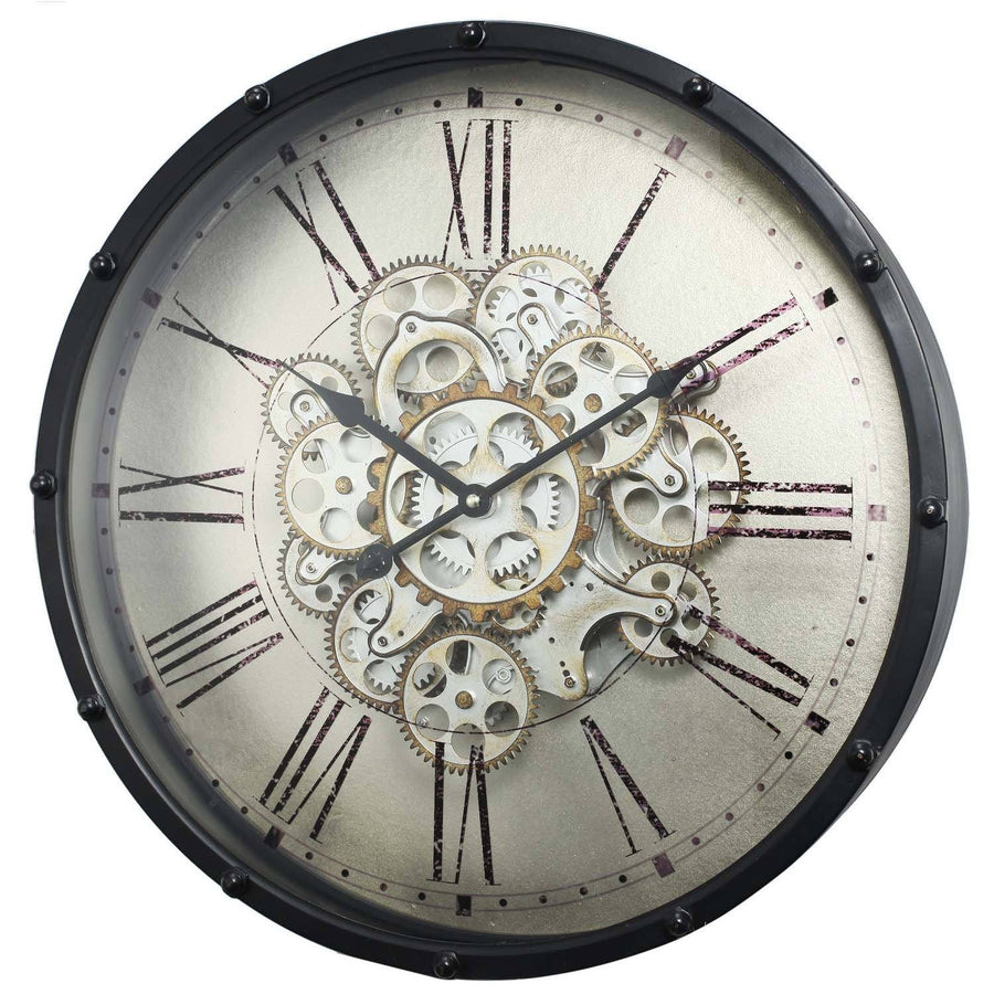 Round Roman Numeral Moving Cogs Wall Clock Angle1 46cm 40053