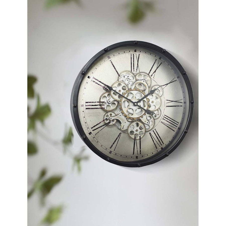 Round Roman Numeral Moving Cogs Wall Clock, 46cm