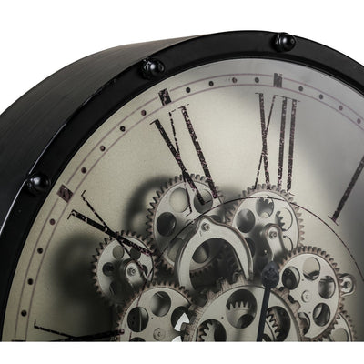 Round Roman Numeral Moving Cogs Wall Clock 46cm Top 40053