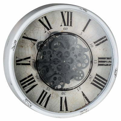 Round Mirror Moving Cogs Wall Clock 50cm Main 40054