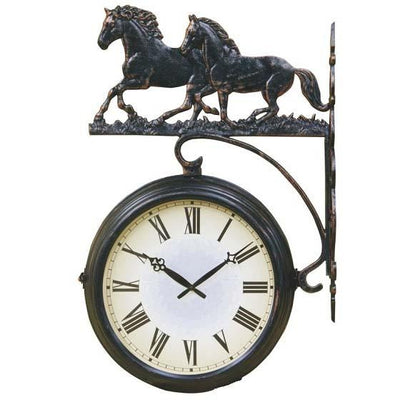 Running Horses Double Sided Thermometer Outdoor Wall Clock 69cm DSC-DC14