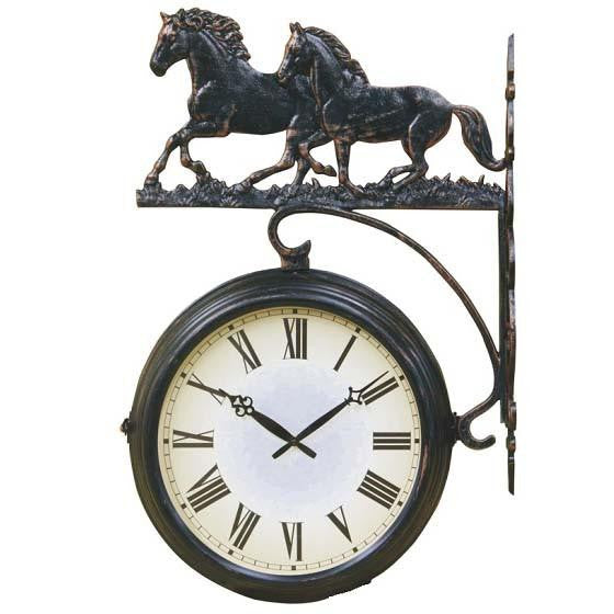 running horses double sided thermometer outdoor wall clock 69cm dscdc14