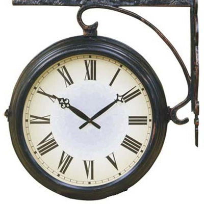 Running Horses Double Sided Thermometer Outdoor Wall Clock Bottom 69cm DSC-DC14