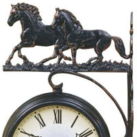 Running Horses Double Sided Thermometer Outdoor Wall Clock Top 69cm DSC-DC14