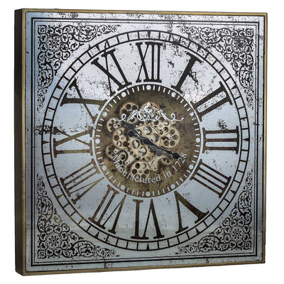 Sawyer Moving Cogs Mirror Metal Wall Clock 82cm Angle 38536