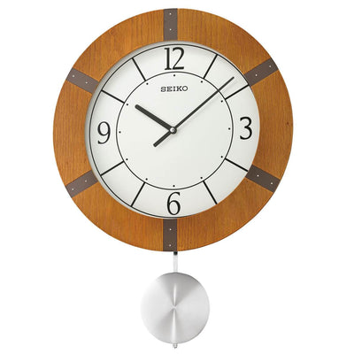 Seiko Mason Wooden Pendulum Wall Clock Light Brown 55cm QXC241-A 1