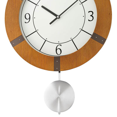Seiko Mason Wooden Pendulum Wall Clock Light Brown 55cm QXC241-A 3
