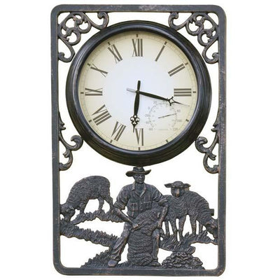 Shearing Cast Aluminium Thermometer Outdoor Wall Clock 72cm CT-C16