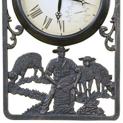 Shearing Cast Aluminium Thermometer Outdoor Wall Clock Bottom 72cm CT-C16