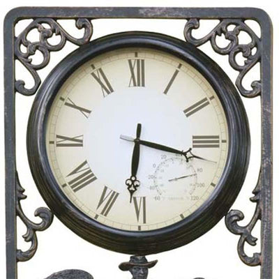 Shearing Cast Aluminium Thermometer Outdoor Wall Clock Top 72cm CT-C16
