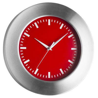 TFA Aluminum Wall Clock Red Dial 30cm 98.1048.05