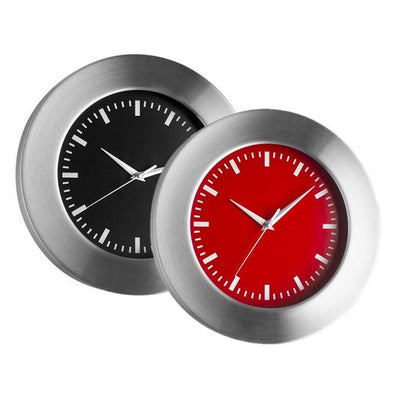 TFA Aluminum Wall Clock Red Black Dial 30cm