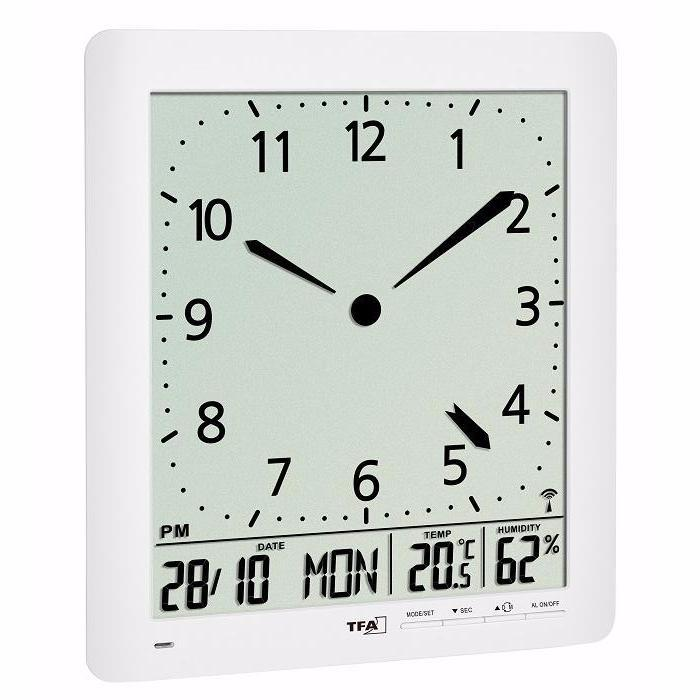 TFA Analog LCD Date Temperature Wall or Desk Clock, White, 24cm