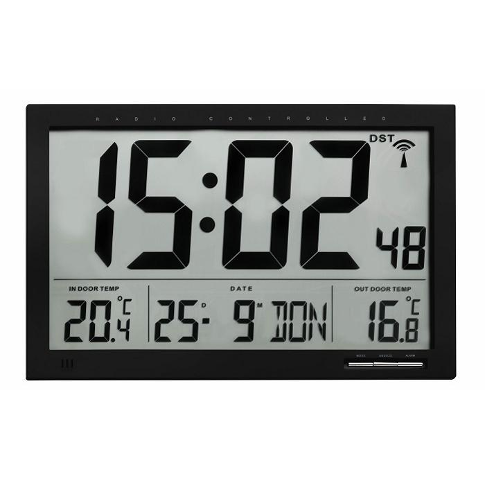 TFA Temperature Day Date Digital Alarm Wall or Desk Clock, 37cm