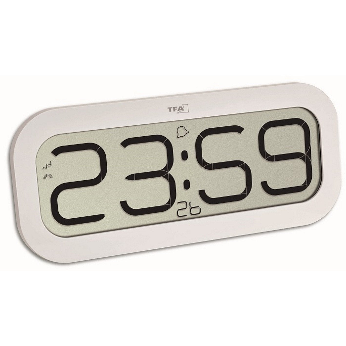 TFA BimBam Hourly Chime Digital Alarm Wall or Table Clock White 32cm 60.4514.02