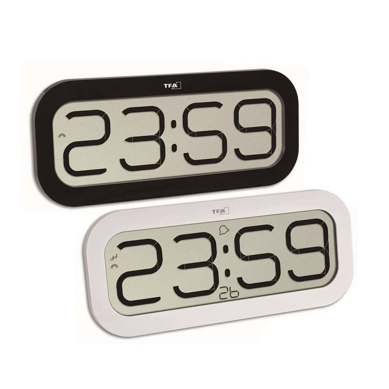 TFA BimBam Hourly Chime Digital Alarm Wall or Table Clock, Black, 32cm