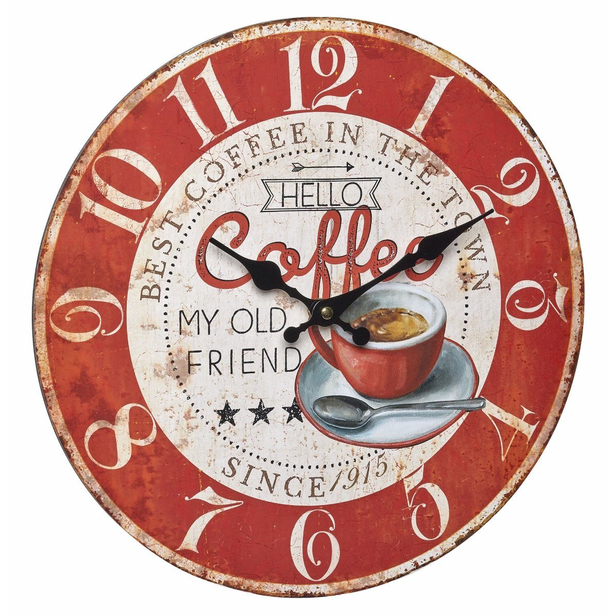 TFA Coffee Vintage Wood Wall Clock 34cm 60.3045.12 Front