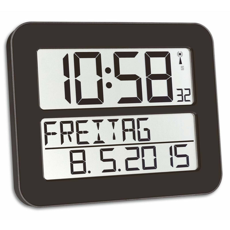 TFA Day Date Digital Alarm Wall or Table Clock, Black, 26cm