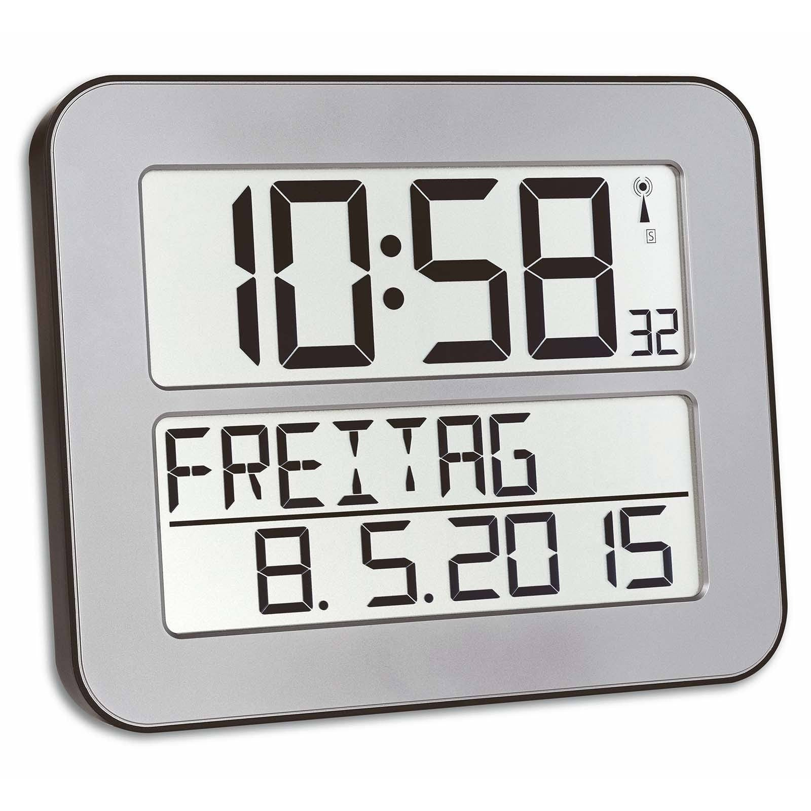 TFA Day Date Digital Alarm Wall or Table Clock, Silver, 26cm