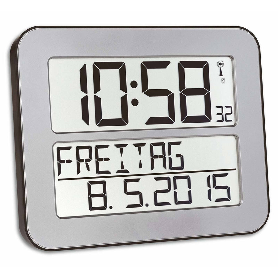 TFA Day Date Digital Alarm Wall or Table Clock Silver 26cm 60.4512.54