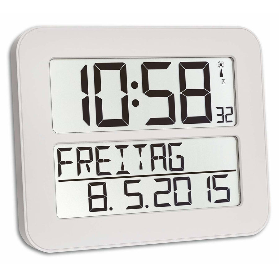 TFA Day Date Digital Alarm Wall or Table Clock, White, 26cm