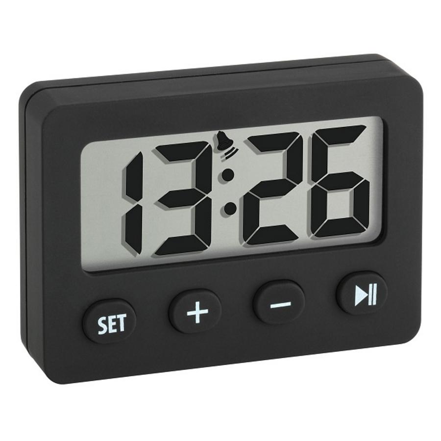 TFA Tiny Digital Alarm Clock with Timer and Stopwatch, Black, 6cm