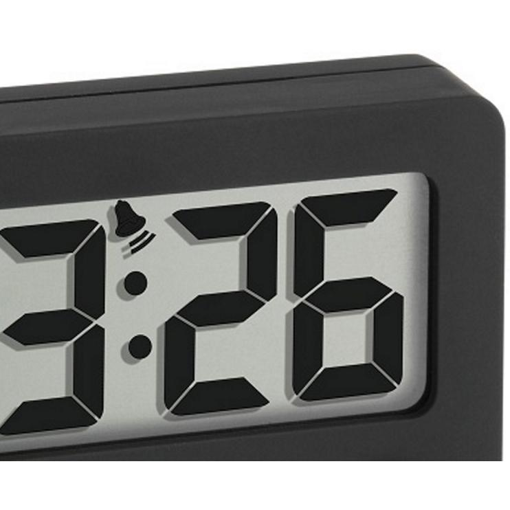 TFA Digital Alarm Clock with Timer and Stopwatch, Black, 6cm