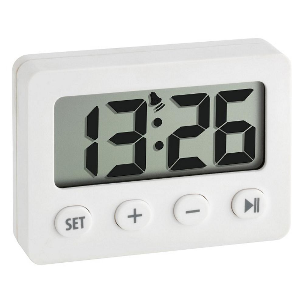 TFA Tiny Digital Alarm Clock with Timer and Stopwatch, White, 6cm