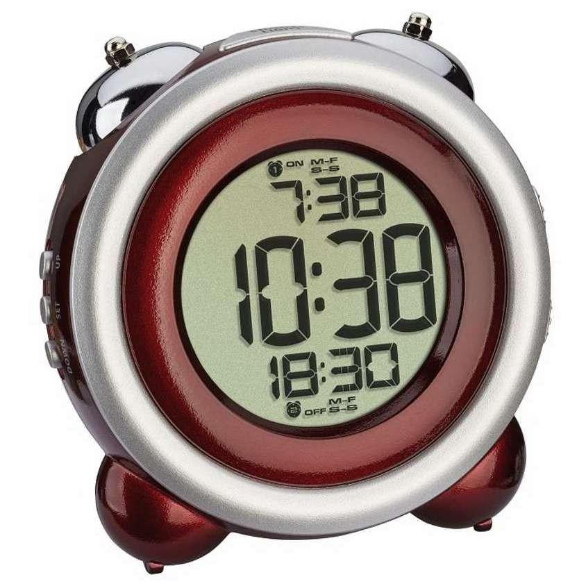 TFA Digital Bell Alarm Clock Red Silver 11cm 60.2016.05