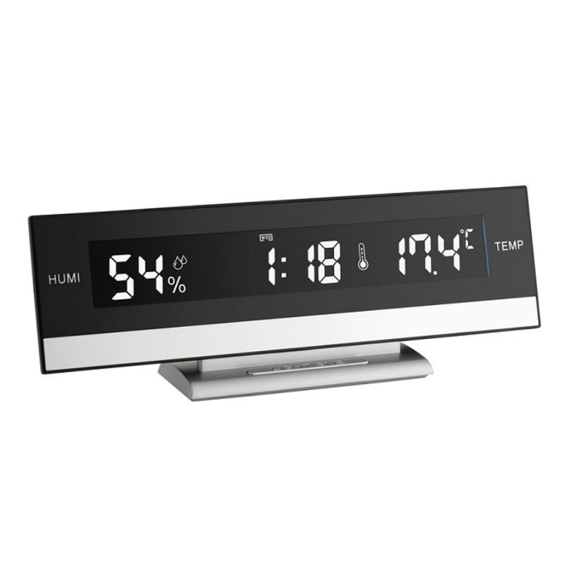 TFA Digital Indoor Climate Alarm Clock, Black, 24cm