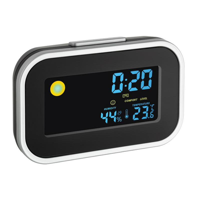 TFA Slim Digital Indoor Climate Alarm Clock, Black, 12cm